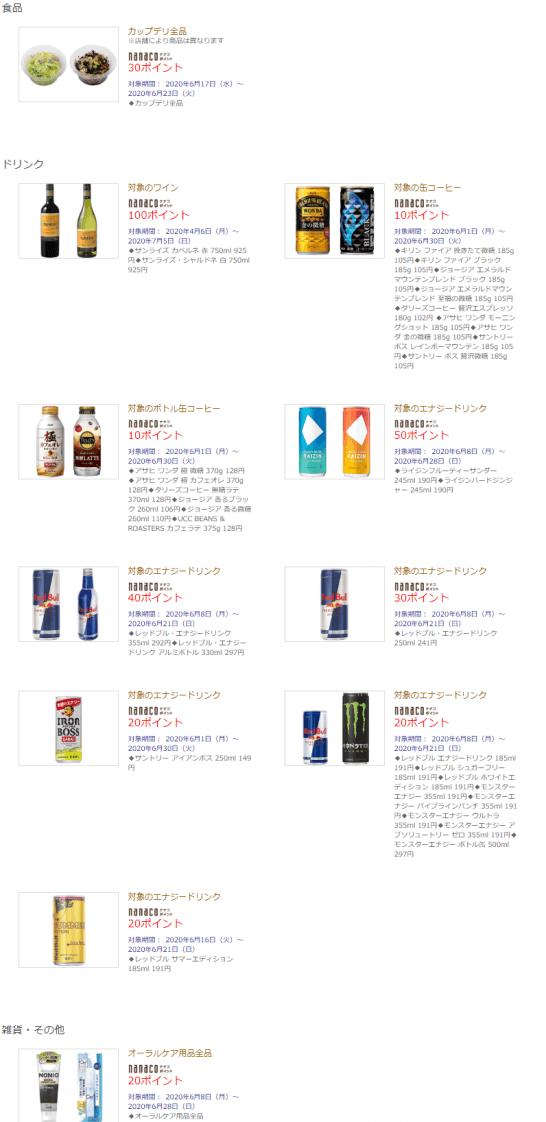 セブン-イレブンでのnanacoボーナスポイント対象商品