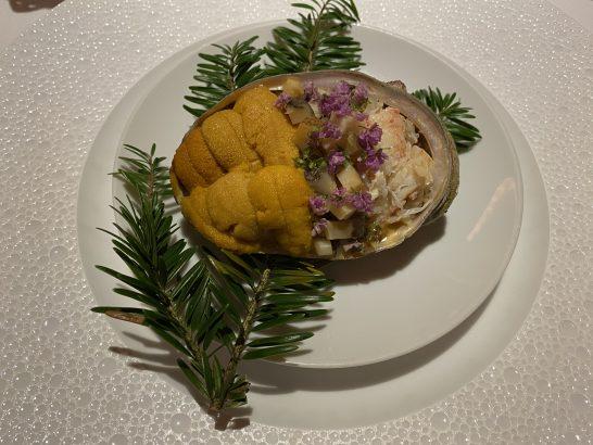 ウニ 毛蟹 ササニシキのリゾット 甘海老のソース アメリケーヌ 大徳寺納豆