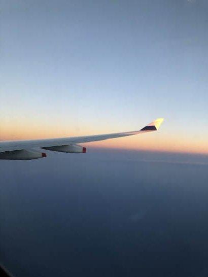 チャイナエアラインの機中からの夕日