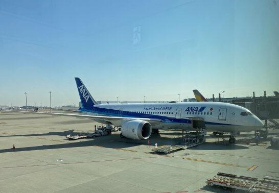 ロンドンに向かうANAの飛行機
