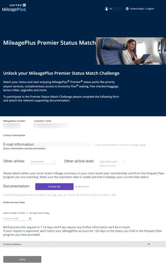 ユナイテッド航空のステータスマッチ申請画面
