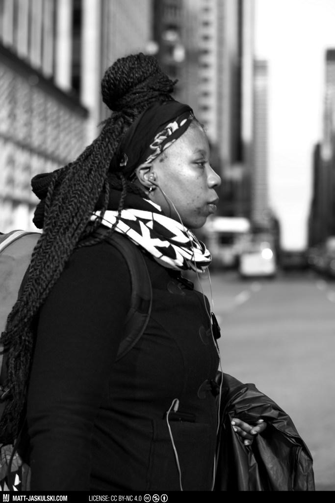 blackandwhite bnw city d800 newyork newyorkcity Nikon nikonphotography nyc perspective portrait profile street streetphoto urban woman