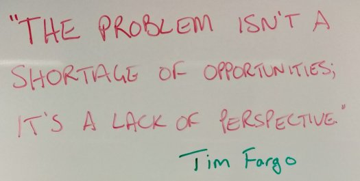 """The problem isn't a shortage of opportunities; it's a lack of perspective."" Tim Fargo"