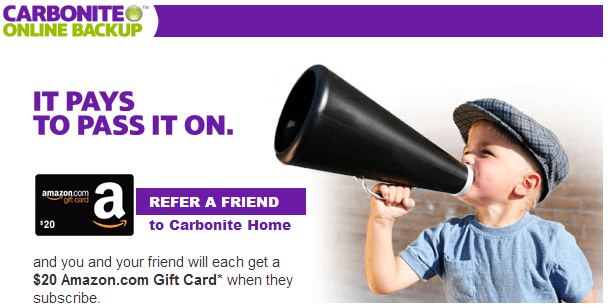 Earn Free Amazon Gift Cards with Carbonite Referral