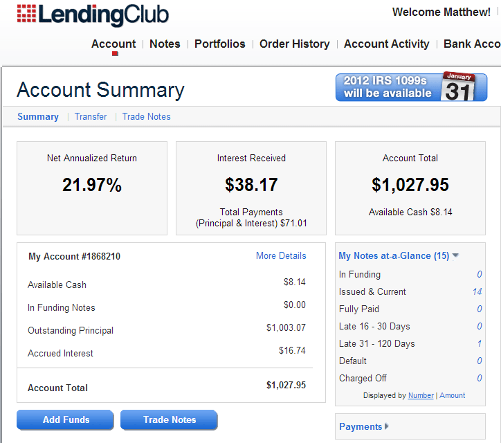 My Account Summary Today at Lending Club - Dumb Passive Income