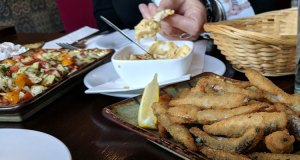 Whitebait and hummus