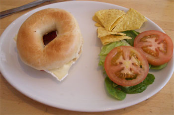 Brie and cranberry bagel