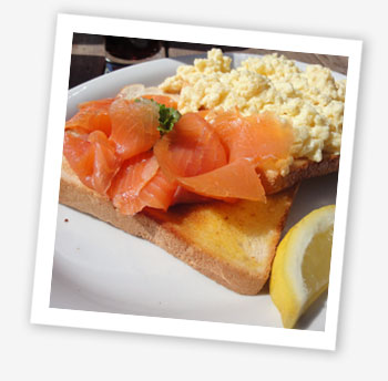 Smoked salmon and scrambled egg on toast