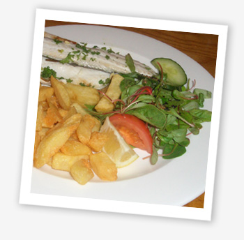 Sea bass and chips at the Boathouse