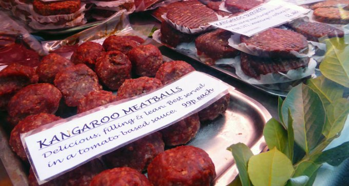 Kangaroo meatballs and burgers.