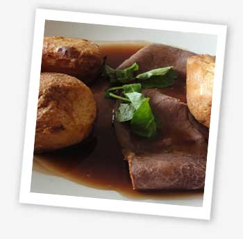 roast topside of English beef served with watercress and home-made Yorkshire pudding