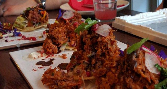 First course: Latino style pork tostadas