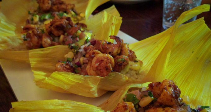 Fifth course: saffron gambas tamales