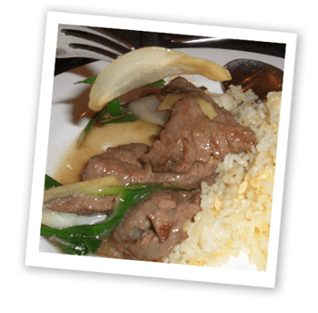 Fillet steak with spring onions and ginger