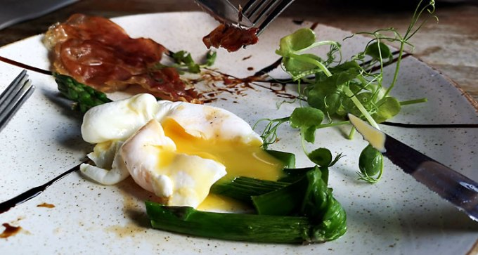 Asparagus and poached egg, served with crispy parma ham