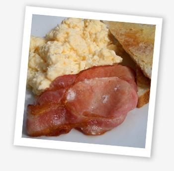 Scrambled egg and bacon