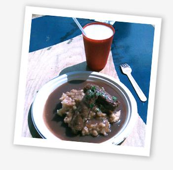 Hurly Burly vegebangers and root veg mash