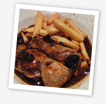 Chicken in red wine and Portobello mushroom sauce