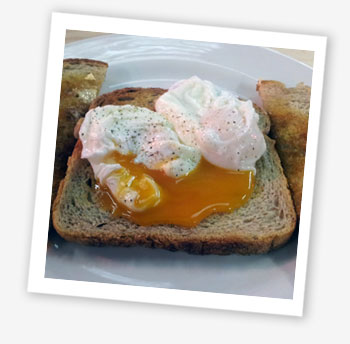 Poached eggs on Island Bakery toast