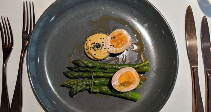 Asparagus, soy egg, sesame and ginger mayonnaise