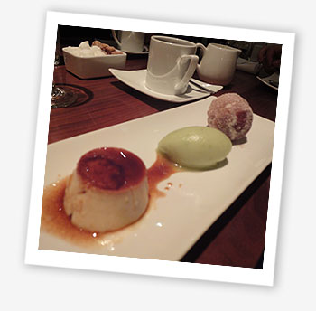 Crème caramel, cinnamon and apple doughnut, Granny Smith sorbet