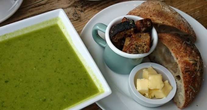 Island Bakery: pea, mint and wild garlic soup
