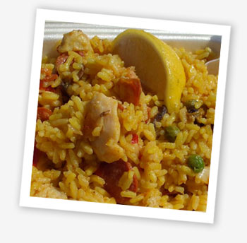 Paella with chorizo