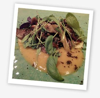 Wild mushrooms, garlic, pine nut pureé, salt-baked turnips and shoots