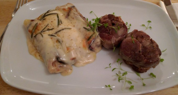 IW lamb poached in duck fat, with cannelloni