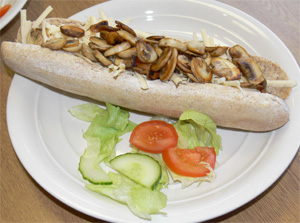 Mushroom and cheese baguette
