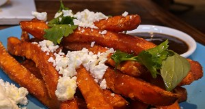 Sweet potato fries and crumbled feta