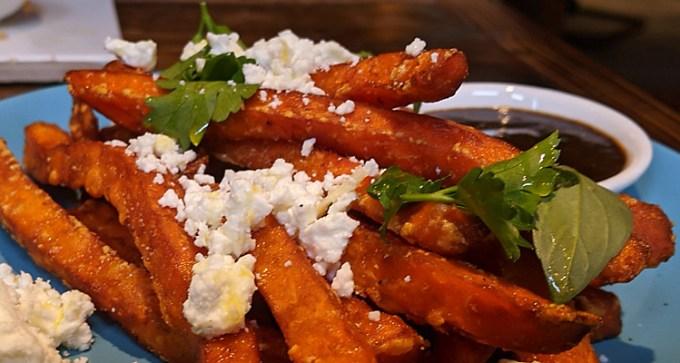 Sweet potato fries and crumbled feta