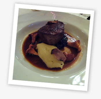 Fillet of aged Scottish beef with pomme puree, summer truffle, Girroles and spinach, Robert Thompson at Northwood House, Cowes, 2010
