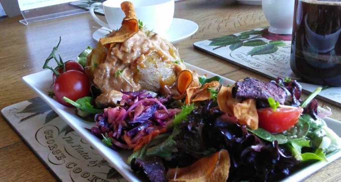 Jacket potato with coronation chicken