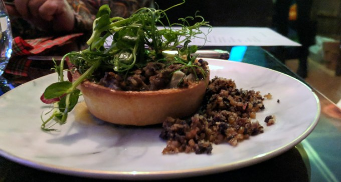 Haggis tart with swede purée, haggis crumb, and whisky jelly
