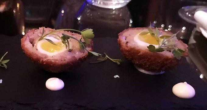 Quail Scotch egg with mustard mayo