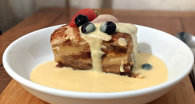 Hot-cross-bun brioche bread and butter pudding
