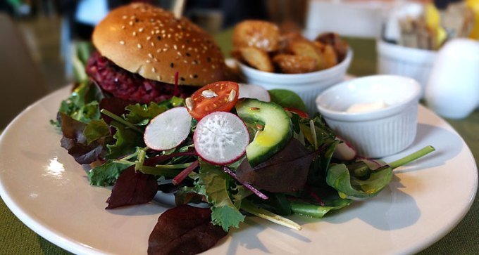 Quay Arts: beetroot and goats cheese burger