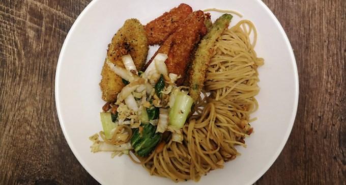 Katsu spring vegetables and Asian noodles
