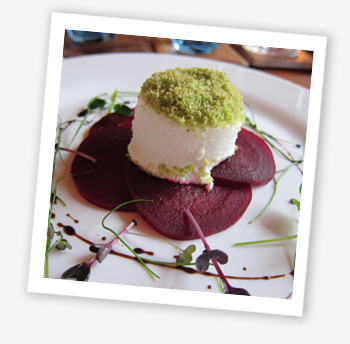 Herb crusted goat's cheese, pine nuts, beetroot Carpaccio, balsamic