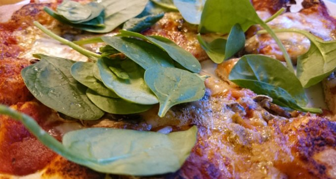 Updated mushroom, blue cheese and baby spinach pizza