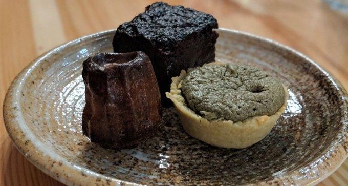 Ginger canelle, matcha tart, miso brownie