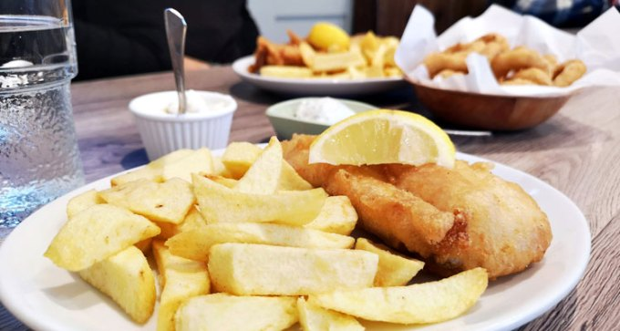 Half cod and chips