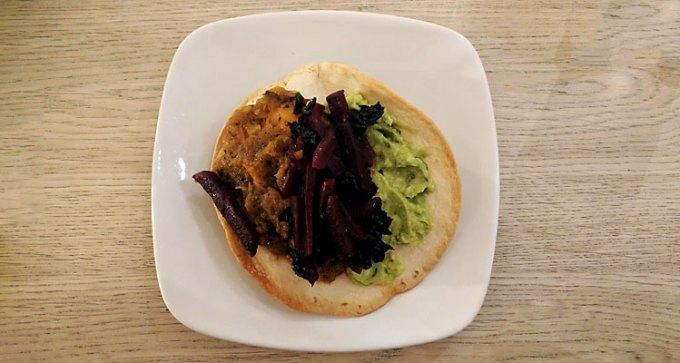 Beetroot and VBG kale tostada