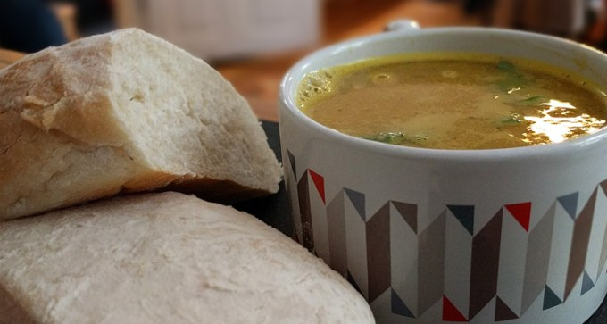 Sweet potato and courgette soup and bread