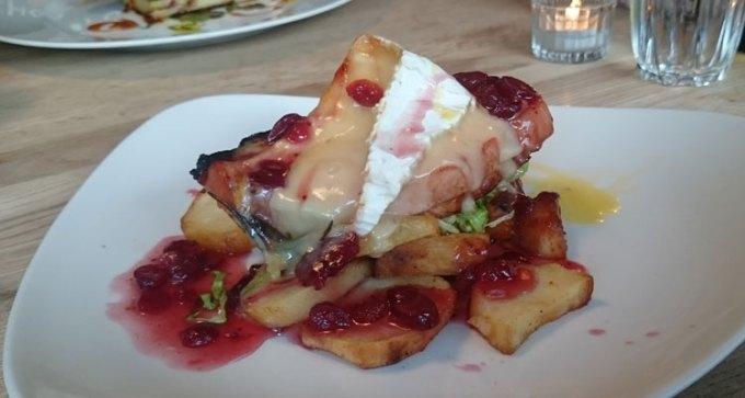 Bacon loin, Brie, crispy potatoes and cranberry glaze