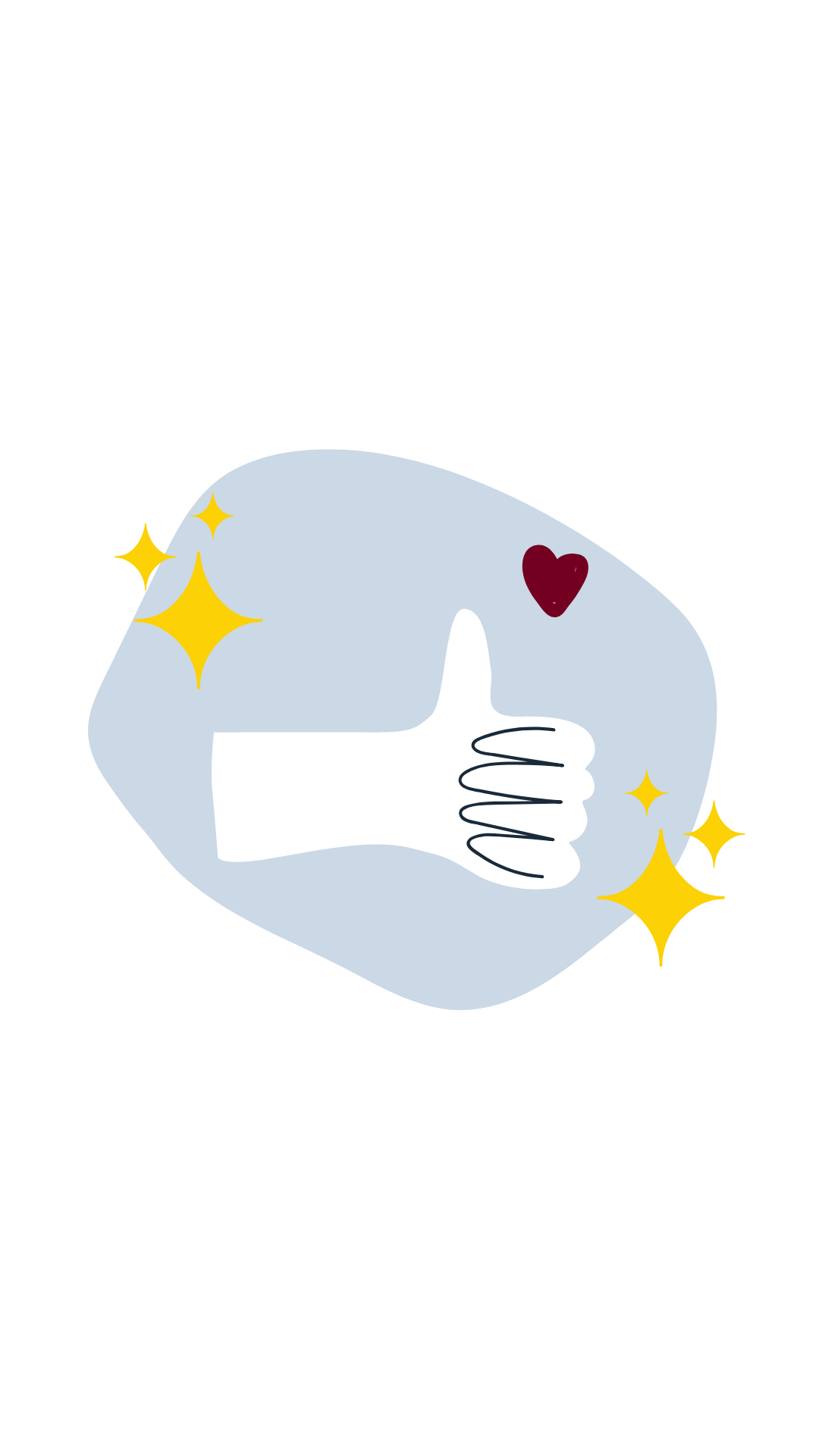 "Illustration of a hand giving a ""thumbs up"" with a heart above it and retro starbursts beside it."