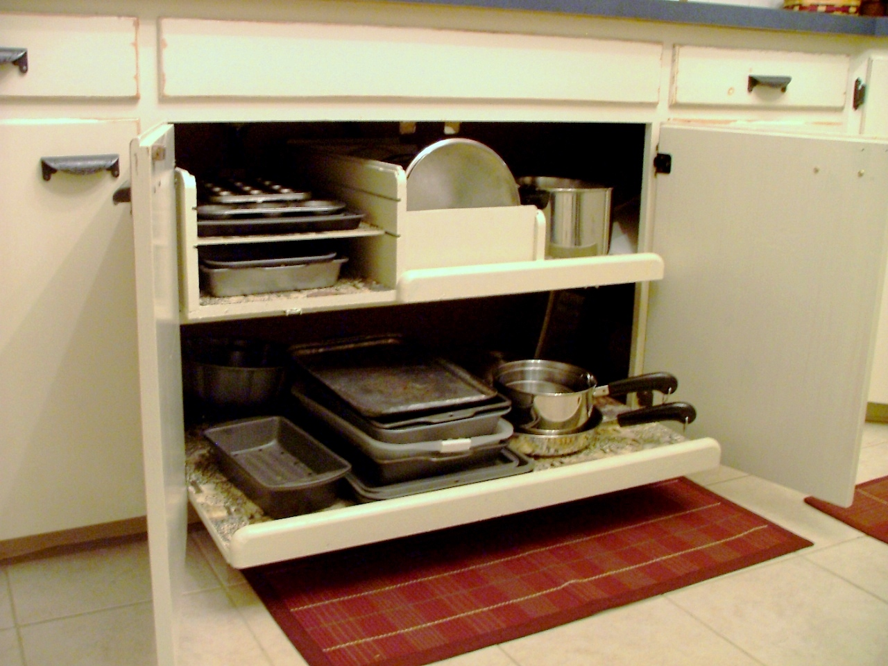 how to arrange pots and pans in kitchen island with storage pull out pot pan drawer matt shari