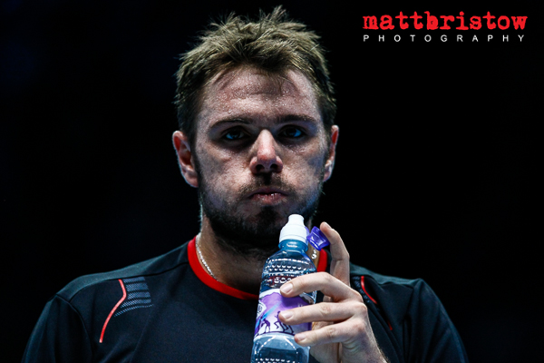 Barclays ATP World Finals 2013 - Stanislas Wawrinka takes a break