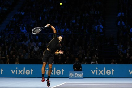 Novak Djokovic serving
